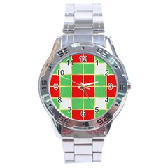 Christmas Fabric Textile Red Green Stainless Steel Analogue Watch by Jojostore