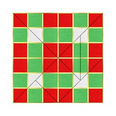 Christmas Fabric Textile Red Green Acrylic Tangram Puzzle (6  X 6 ) by Jojostore