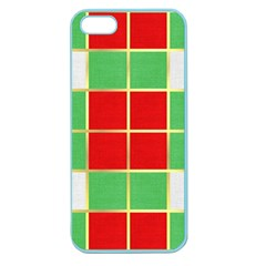 Christmas Fabric Textile Red Green Apple Seamless Iphone 5 Case (color) by Jojostore