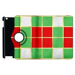 Christmas Fabric Textile Red Green Apple Ipad 3/4 Flip 360 Case by Jojostore