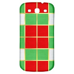 Christmas Fabric Textile Red Green Samsung Galaxy S3 S Iii Classic Hardshell Back Case by Jojostore