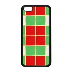 Christmas Fabric Textile Red Green Apple Iphone 5c Seamless Case (black) by Jojostore