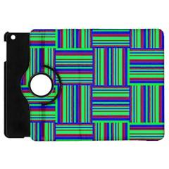Fabric Pattern Design Cloth Stripe Apple Ipad Mini Flip 360 Case by Jojostore