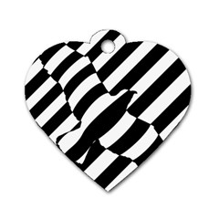 Flaying Bird Black White Dog Tag Heart (one Side) by Jojostore