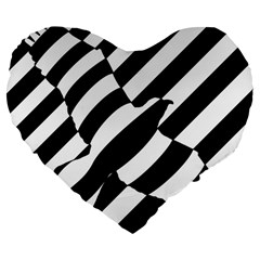 Flaying Bird Black White Large 19  Premium Flano Heart Shape Cushions by Jojostore