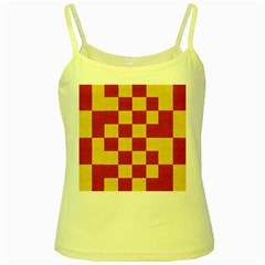 Fabric Geometric Red Gold Block Yellow Spaghetti Tank by Jojostore