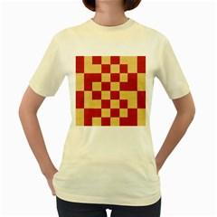 Fabric Geometric Red Gold Block Women s Yellow T Shirt by Jojostore