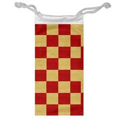 Fabric Geometric Red Gold Block Jewelry Bag by Jojostore