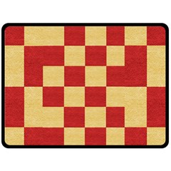 Fabric Geometric Red Gold Block Fleece Blanket (large)  by Jojostore