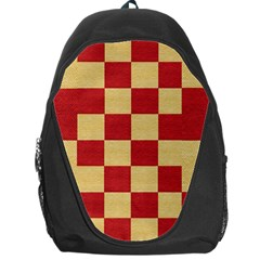 Fabric Geometric Red Gold Block Backpack Bag by Jojostore