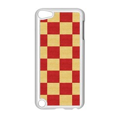 Fabric Geometric Red Gold Block Apple Ipod Touch 5 Case (white) by Jojostore