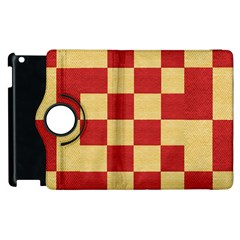 Fabric Geometric Red Gold Block Apple Ipad 3/4 Flip 360 Case by Jojostore