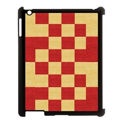 Fabric Geometric Red Gold Block Apple Ipad 3/4 Case (black) by Jojostore