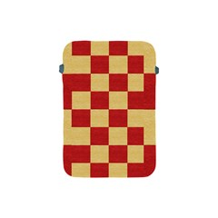 Fabric Geometric Red Gold Block Apple Ipad Mini Protective Soft Cases by Jojostore
