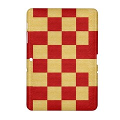 Fabric Geometric Red Gold Block Samsung Galaxy Tab 2 (10 1 ) P5100 Hardshell Case  by Jojostore