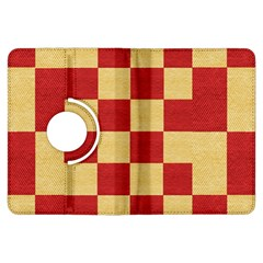 Fabric Geometric Red Gold Block Kindle Fire Hdx Flip 360 Case by Jojostore