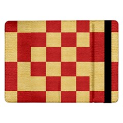 Fabric Geometric Red Gold Block Samsung Galaxy Tab Pro 12 2  Flip Case by Jojostore