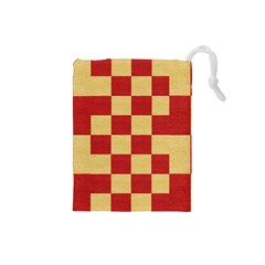 Fabric Geometric Red Gold Block Drawstring Pouches (small)  by Jojostore