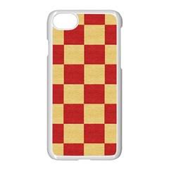 Fabric Geometric Red Gold Block Apple Iphone 7 Seamless Case (white)