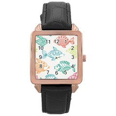 Fish Rose Gold Leather Watch  by Jojostore