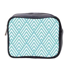 Geometric Blue Mini Toiletries Bag 2 Side by Jojostore