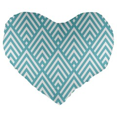 Geometric Blue Large 19  Premium Flano Heart Shape Cushions by Jojostore