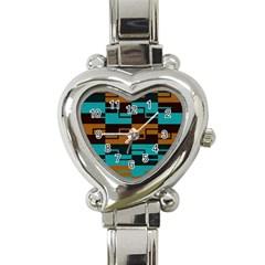 Fabric Textile Texture Gold Aqua Heart Italian Charm Watch by Jojostore