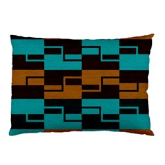 Fabric Textile Texture Gold Aqua Pillow Case (two Sides) by Jojostore
