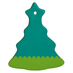 Green Blue Christmas Tree Ornament (2 Sides) by Jojostore