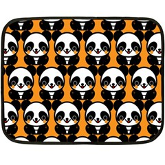 Halloween Night Cute Panda Orange Fleece Blanket (mini) by Jojostore