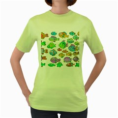 Fishes Col Fishing Fish Women s Green T Shirt by Jojostore