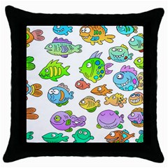Fishes Col Fishing Fish Throw Pillow Case (black) by Jojostore