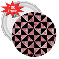 Triangle1 Black Marble & Red & White Marble 3  Button (100 Pack) by trendistuff
