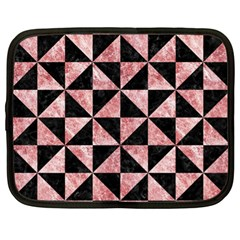 Triangle1 Black Marble & Red & White Marble Netbook Case (xl) by trendistuff