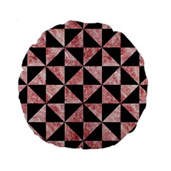 Triangle1 Black Marble & Red & White Marble Standard 15  Premium Round Cushion  by trendistuff