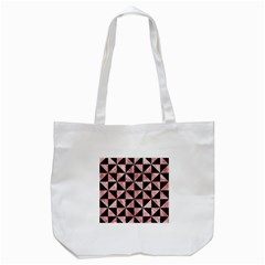 Triangle1 Black Marble & Red & White Marble Tote Bag (white) by trendistuff