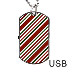 Line Christmas Stripes Dog Tag Usb Flash (one Side) by Jojostore