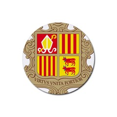 Coat Of Arms Of Andorra Rubber Coaster (round)  by abbeyz71