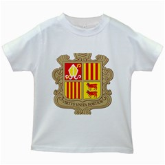 Coat Of Arms Of Andorra Kids White T Shirts by abbeyz71