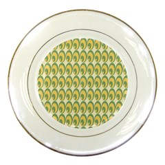 Pattern Circle Green Yellow Porcelain Plates by Jojostore