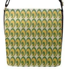Pattern Circle Green Yellow Flap Messenger Bag (s) by Jojostore