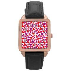 Love Pattern Wallpaper Rose Gold Leather Watch  by Jojostore