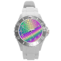 Line Colour Wiggles Round Plastic Sport Watch (l) by Jojostore