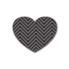 Background Gray Zig Zag Chevron Rubber Coaster (heart)  by Jojostore