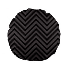 Background Gray Zig Zag Chevron Standard 15  Premium Round Cushions by Jojostore