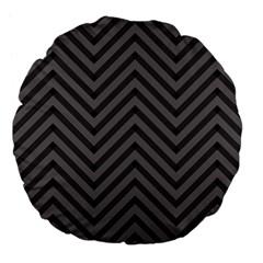 Background Gray Zig Zag Chevron Large 18  Premium Flano Round Cushions by Jojostore