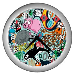 Alphabet Patterns Wall Clocks (silver)  by Jojostore