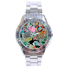 Alphabet Patterns Stainless Steel Analogue Watch by Jojostore