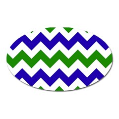 Blue And Green Chevron Oval Magnet by Jojostore