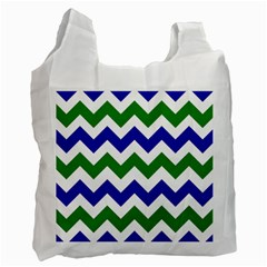 Blue And Green Chevron Recycle Bag (two Side)  by Jojostore